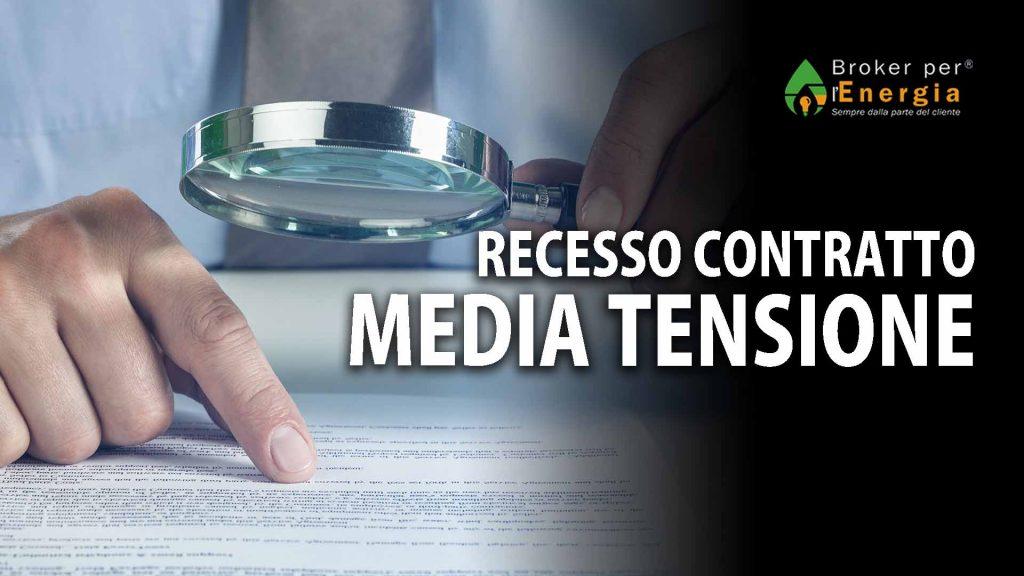 recesso contratto media tensione